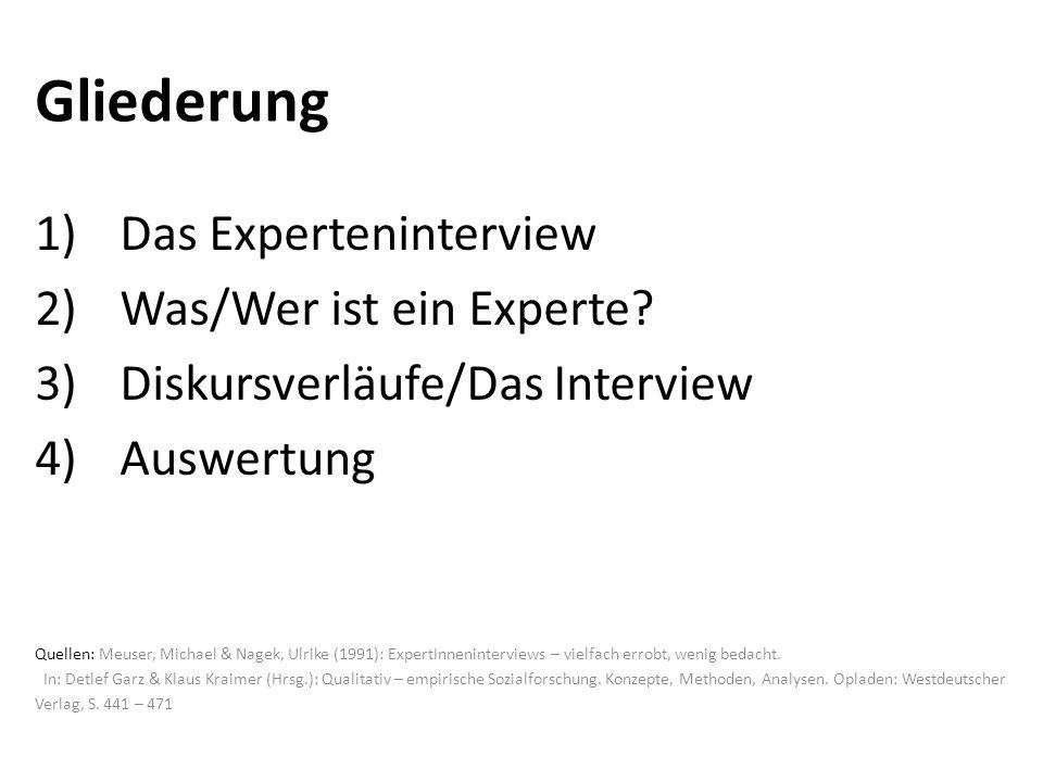 Gliederung Das Experteninterview Was/Wer ist ein Experte