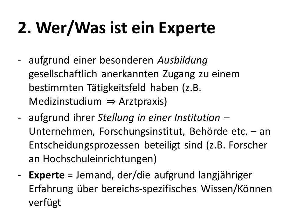 2. Wer/Was ist ein Experte