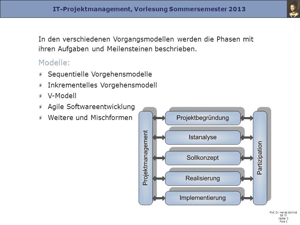 In den verschiedenen Vorgangsmodellen werden die Phasen mit ihren Aufgaben und Meilensteinen beschrieben.