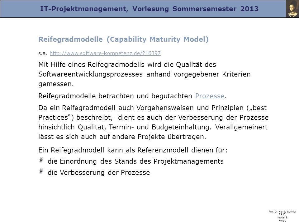 Reifegradmodelle (Capability Maturity Model)
