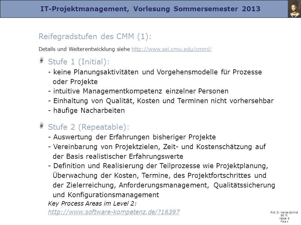 Reifegradstufen des CMM (1):