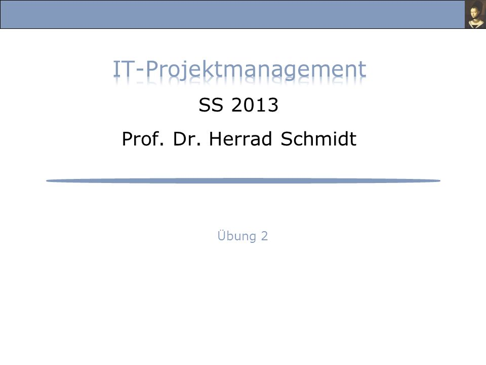 IT-Projektmanagement SS 2013 Prof. Dr. Herrad Schmidt
