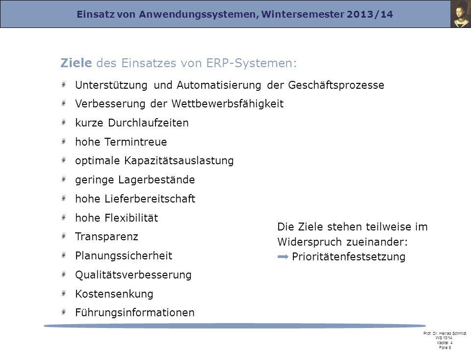 Ziele des Einsatzes von ERP-Systemen: