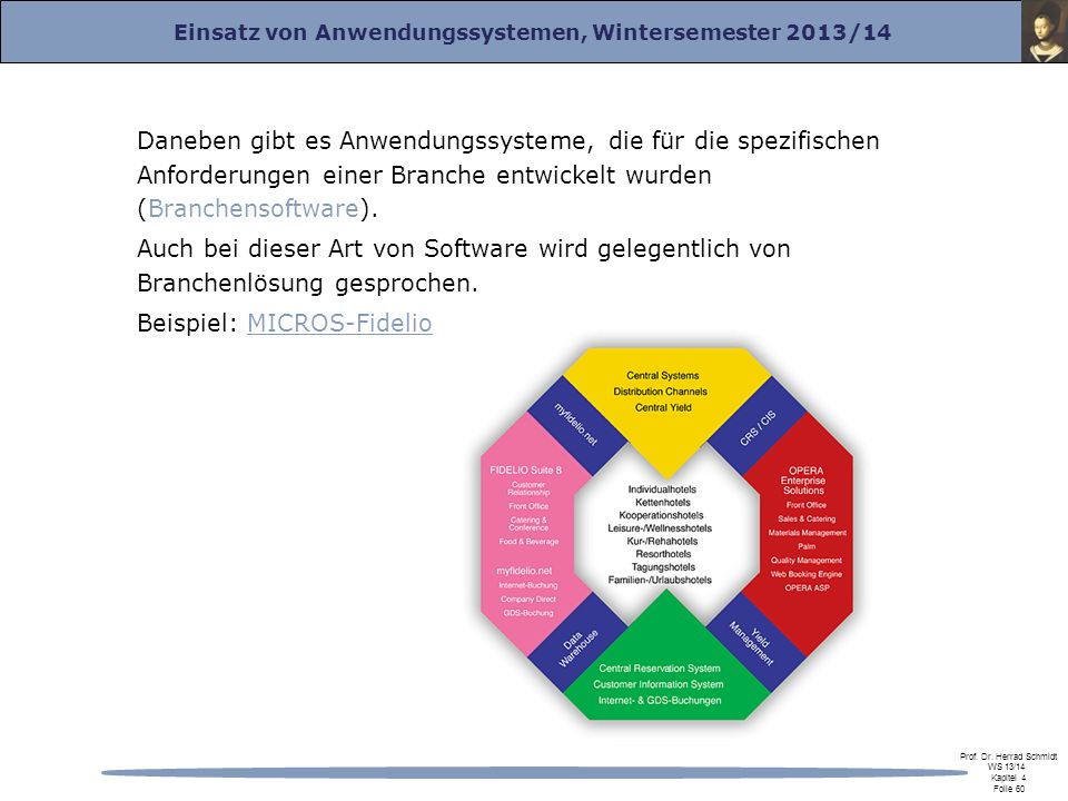 Daneben gibt es Anwendungssysteme, die für die spezifischen Anforderungen einer Branche entwickelt wurden (Branchensoftware).