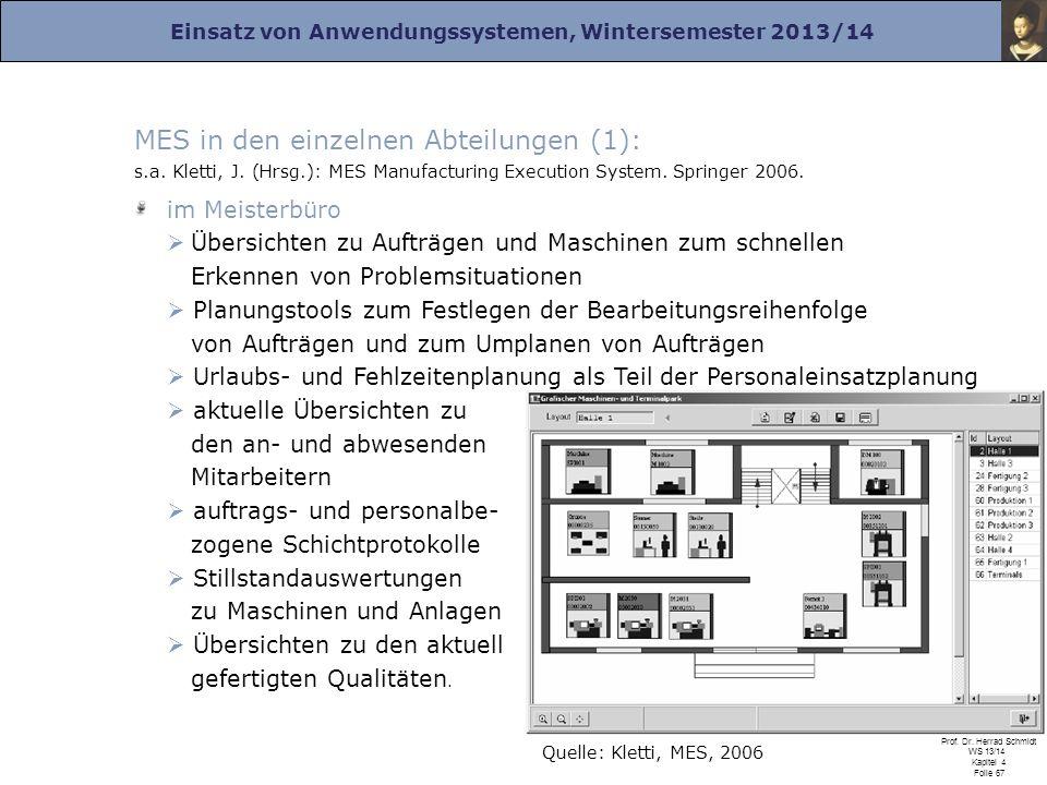 MES in den einzelnen Abteilungen (1): s. a. Kletti, J. (Hrsg