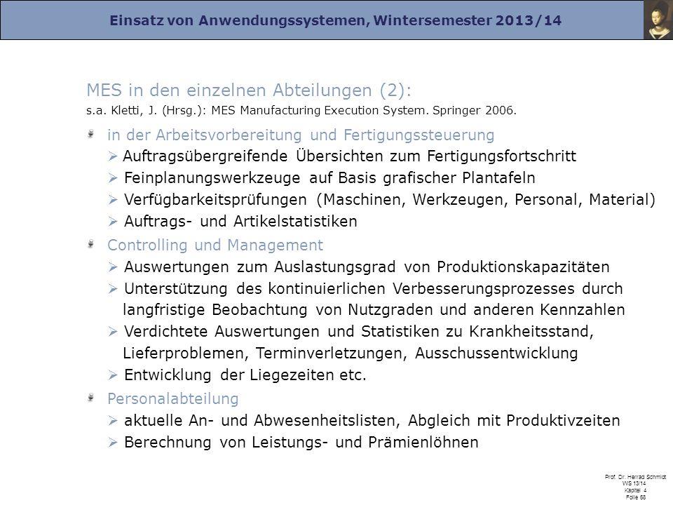MES in den einzelnen Abteilungen (2): s. a. Kletti, J. (Hrsg