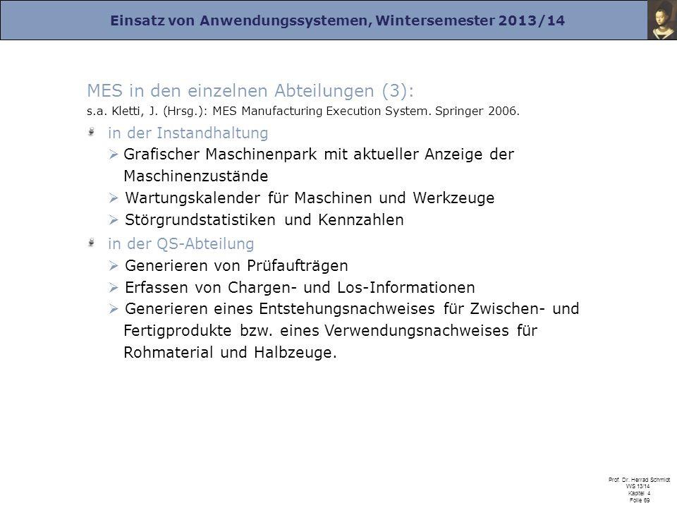 MES in den einzelnen Abteilungen (3): s. a. Kletti, J. (Hrsg