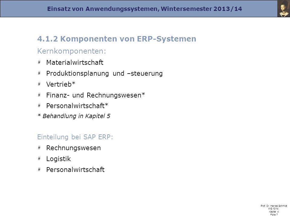 4.1.2 Komponenten von ERP-Systemen Kernkomponenten: