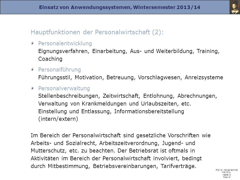 Hauptfunktionen der Personalwirtschaft (2):