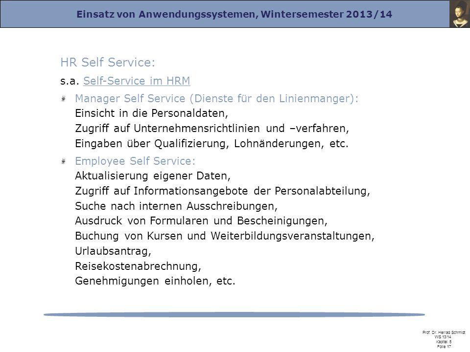 HR Self Service: s.a. Self-Service im HRM
