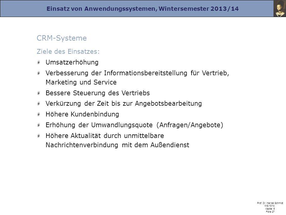 CRM-Systeme Ziele des Einsatzes: Umsatzerhöhung