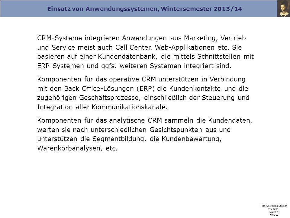 CRM-Systeme integrieren Anwendungen aus Marketing, Vertrieb und Service meist auch Call Center, Web-Applikationen etc. Sie basieren auf einer Kundendatenbank, die mittels Schnittstellen mit ERP-Systemen und ggfs. weiteren Systemen integriert sind.