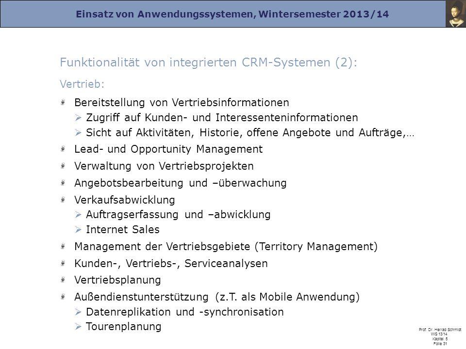Funktionalität von integrierten CRM-Systemen (2):