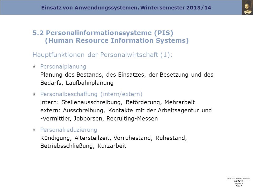 5.2 Personalinformationssysteme (PIS)