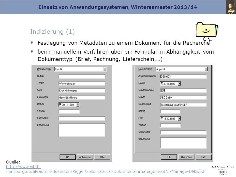 Indizierung (1) Festlegung von Metadaten zu einem Dokument für die Recherche.