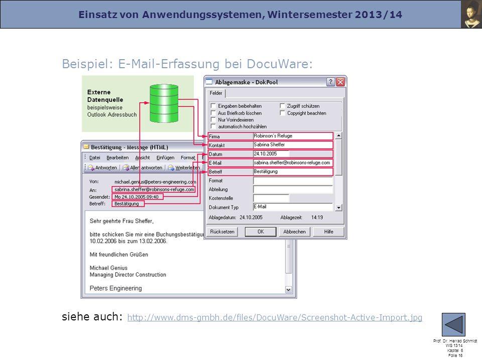 Beispiel: E-Mail-Erfassung bei DocuWare:
