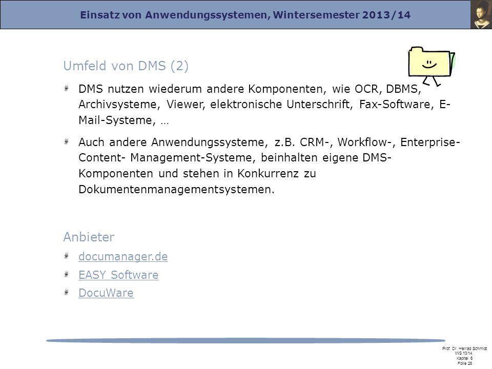 Umfeld von DMS (2) Anbieter