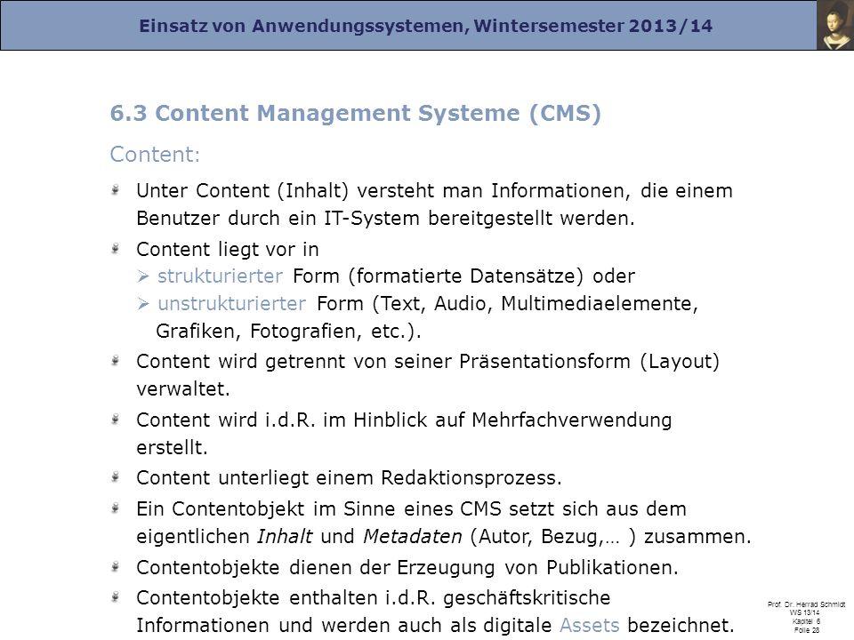 6.3 Content Management Systeme (CMS) Content: