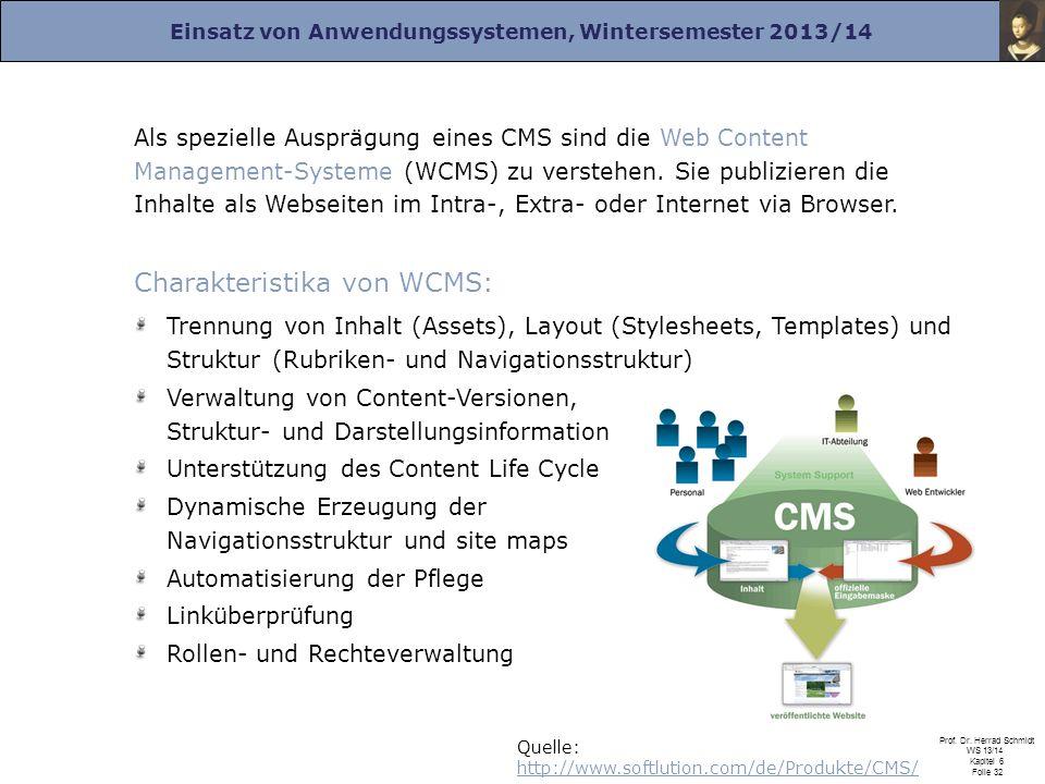 Charakteristika von WCMS: