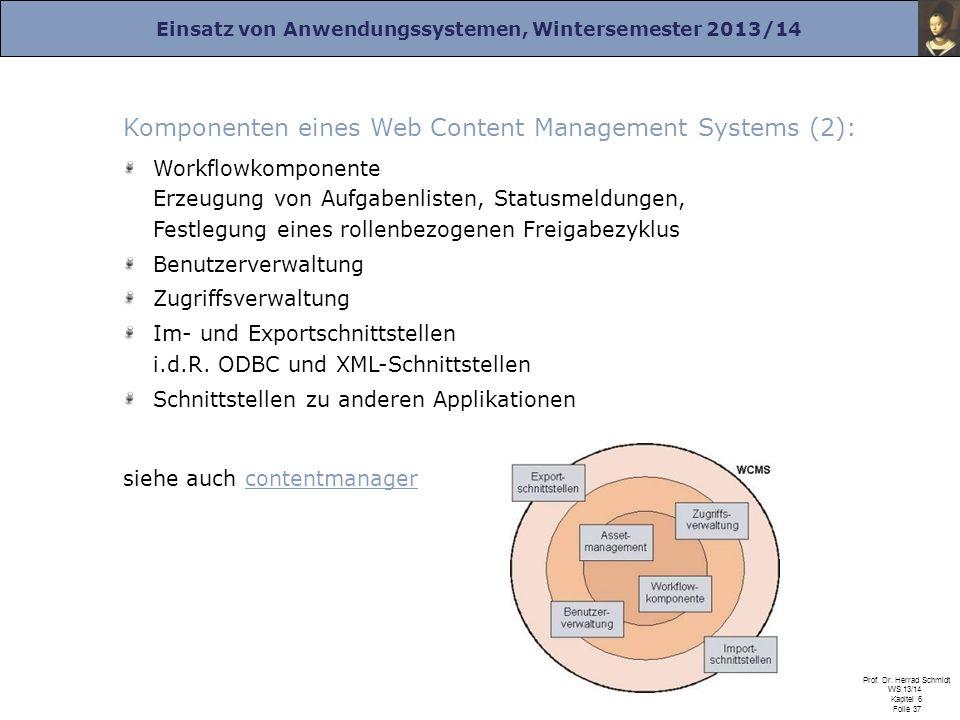 Komponenten eines Web Content Management Systems (2):