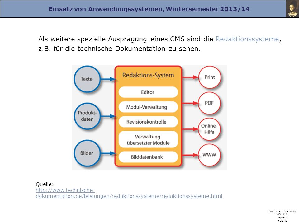 Als weitere spezielle Ausprägung eines CMS sind die Redaktionssysteme, z.B. für die technische Dokumentation zu sehen.
