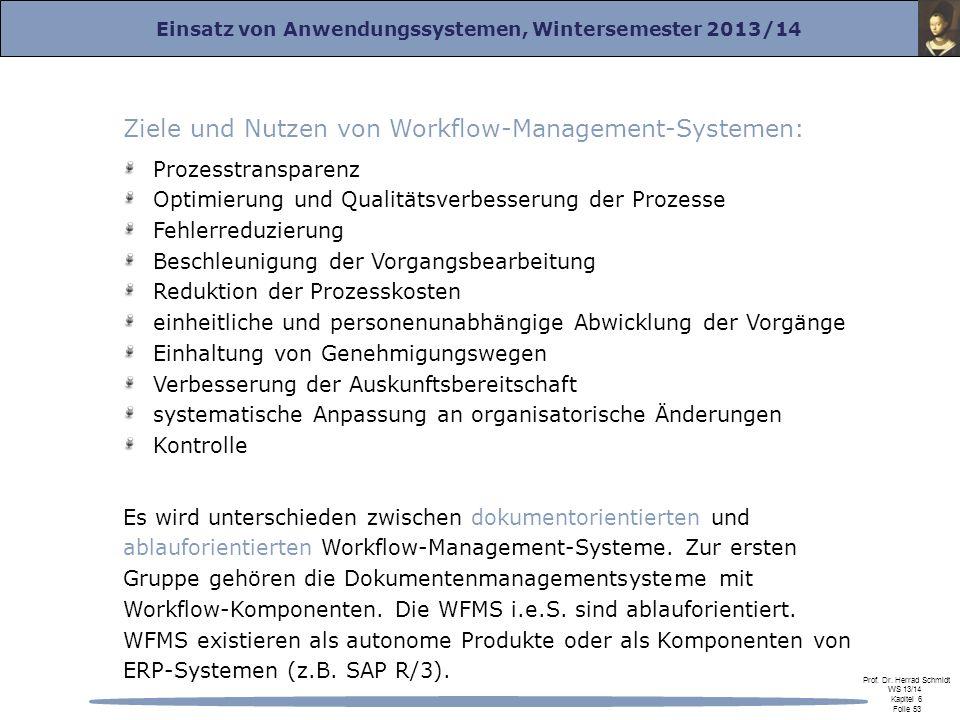 Ziele und Nutzen von Workflow-Management-Systemen: