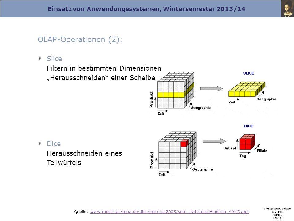 """OLAP-Operationen (2): Slice Filtern in bestimmten Dimensionen """"Herausschneiden einer Scheibe. Dice Herausschneiden eines Teilwürfels."""