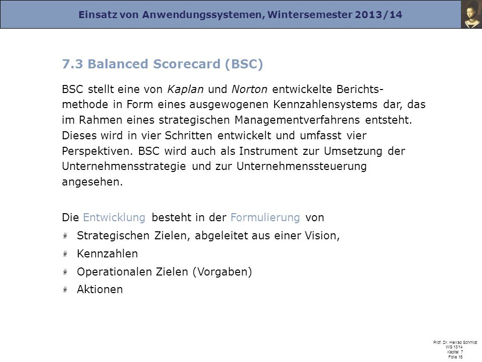 7.3 Balanced Scorecard (BSC)