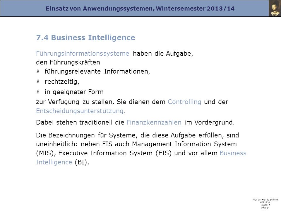 7.4 Business Intelligence
