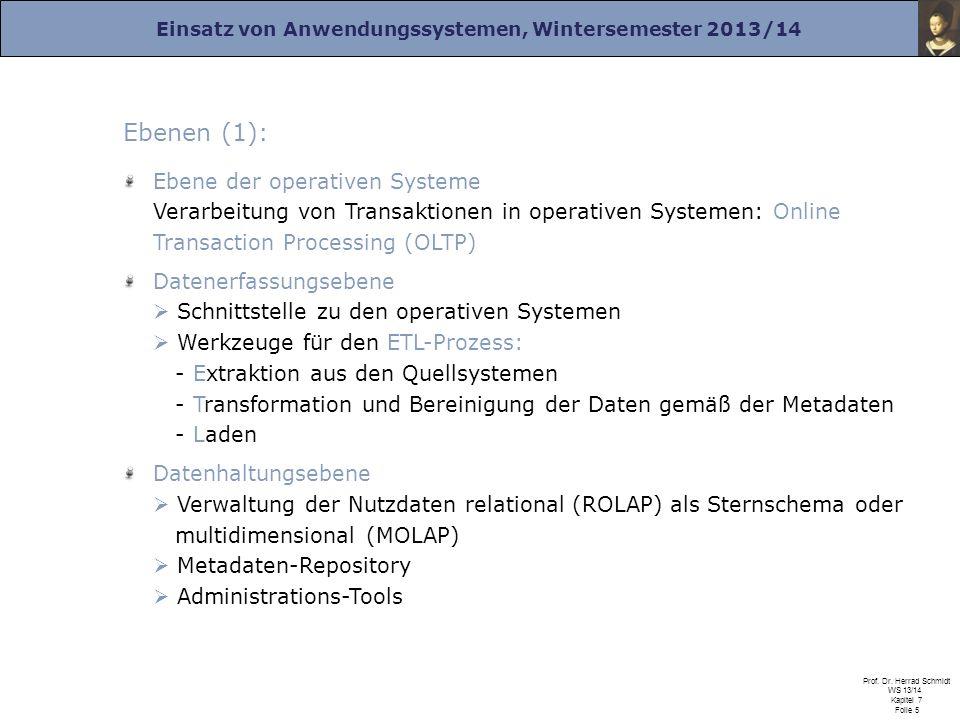 Ebenen (1): Ebene der operativen Systeme Verarbeitung von Transaktionen in operativen Systemen: Online Transaction Processing (OLTP)