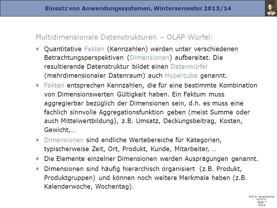 Multidimensionale Datenstrukturen – OLAP-Würfel: