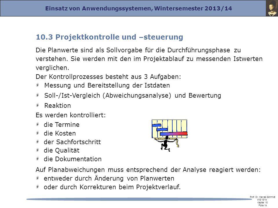 10.3 Projektkontrolle und –steuerung