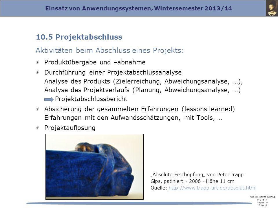 Aktivitäten beim Abschluss eines Projekts: