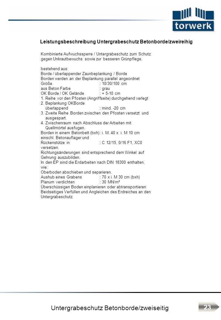Untergrabeschutz Betonborde/zweiseitig