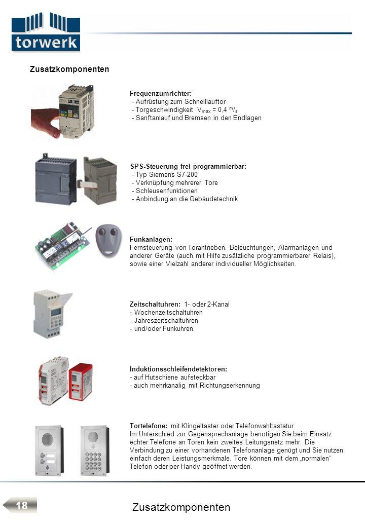 Zusatzkomponenten 18 Zusatzkomponenten Frequenzumrichter: