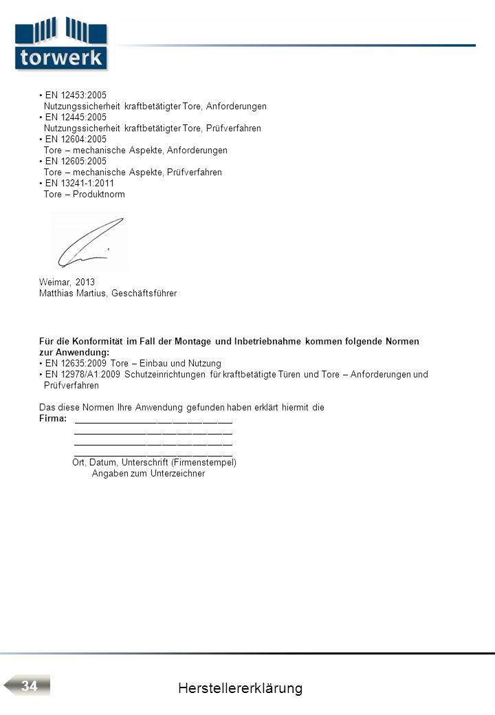 Herstellererklärung 34 EN 12453:2005