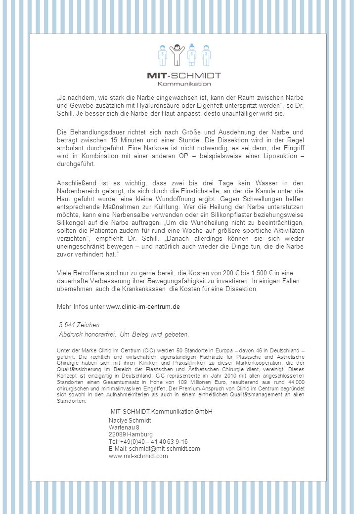 Mehr Infos unter www.clinic-im-centrum.de 3.644 Zeichen