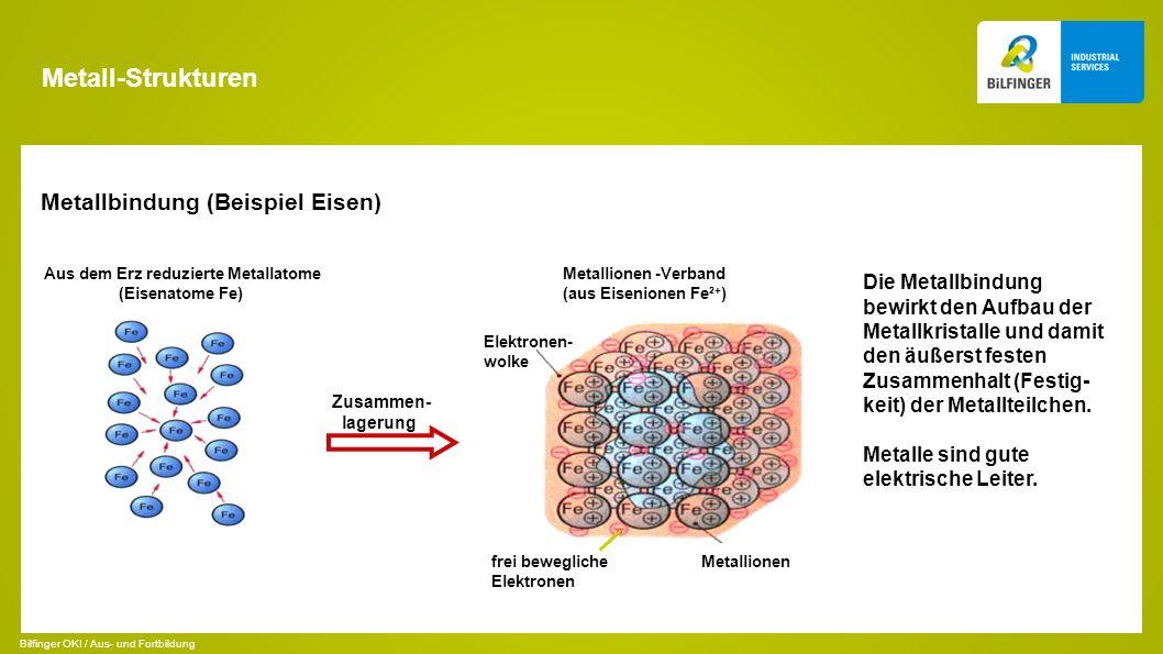 Metall-Strukturen Metallbindung (Beispiel Eisen)