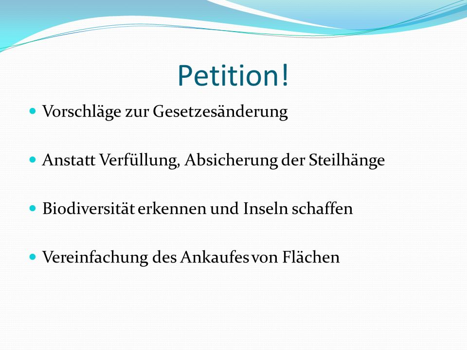Petition! Vorschläge zur Gesetzesänderung