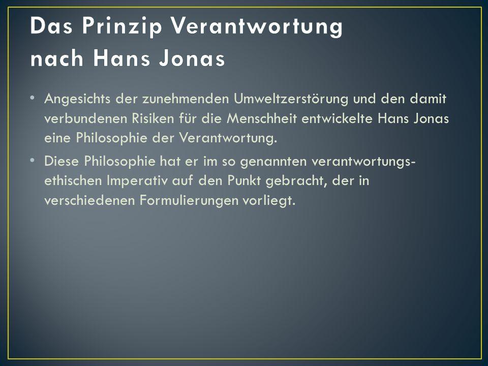 Das Prinzip Verantwortung nach Hans Jonas