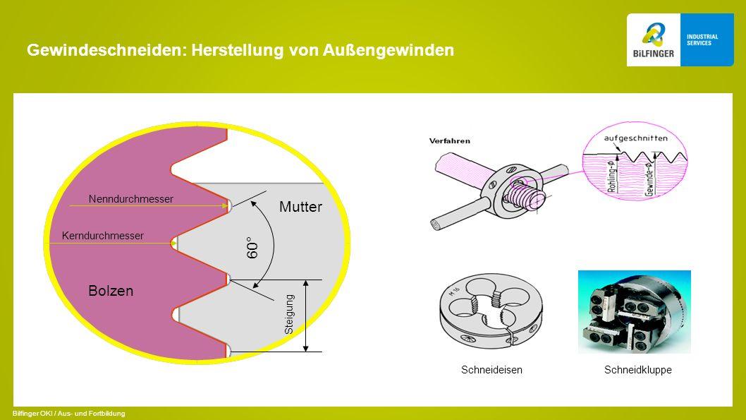 Gewindeschneiden: Herstellung von Außengewinden