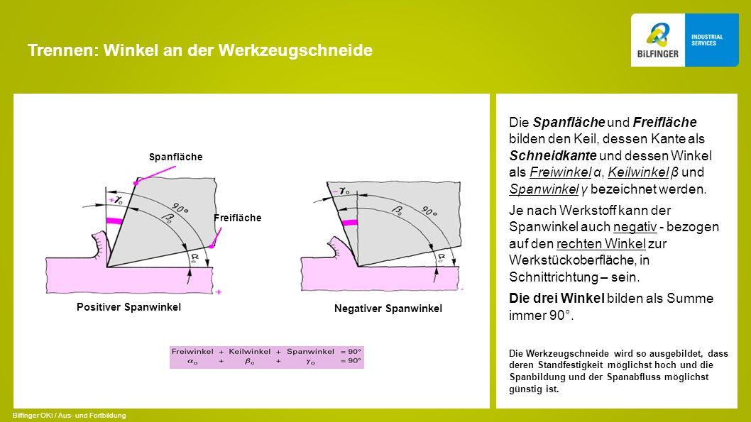 Trennen: Winkel an der Werkzeugschneide