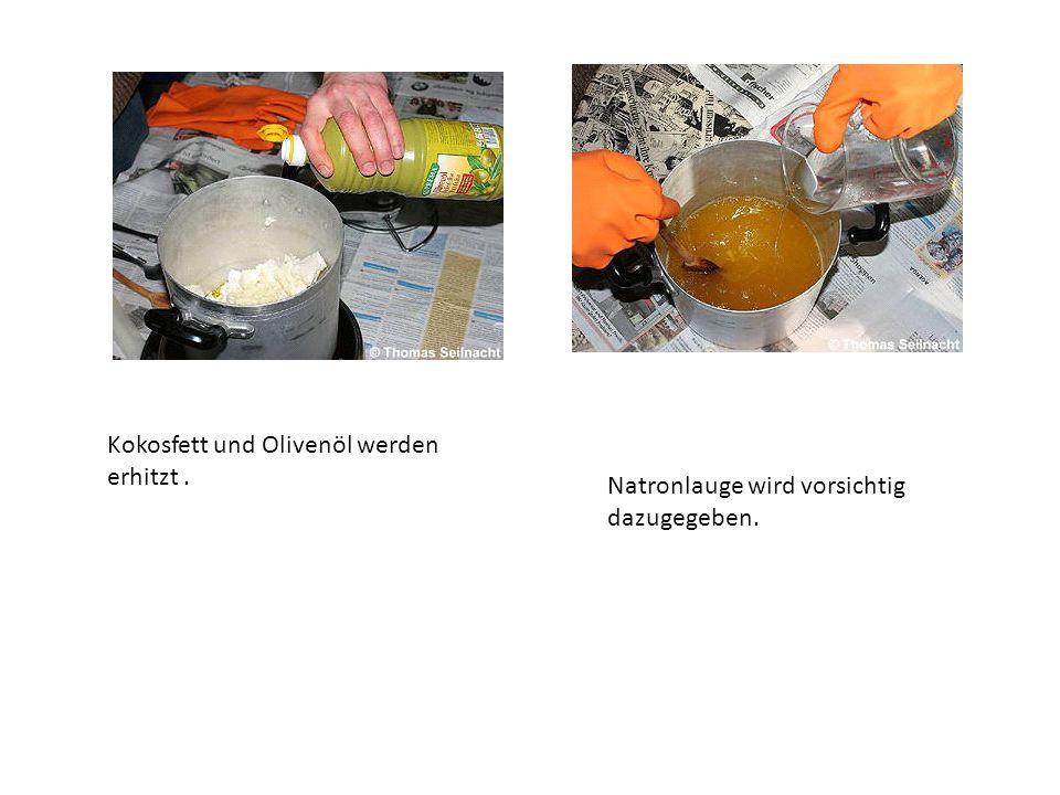 Kokosfett und Olivenöl werden