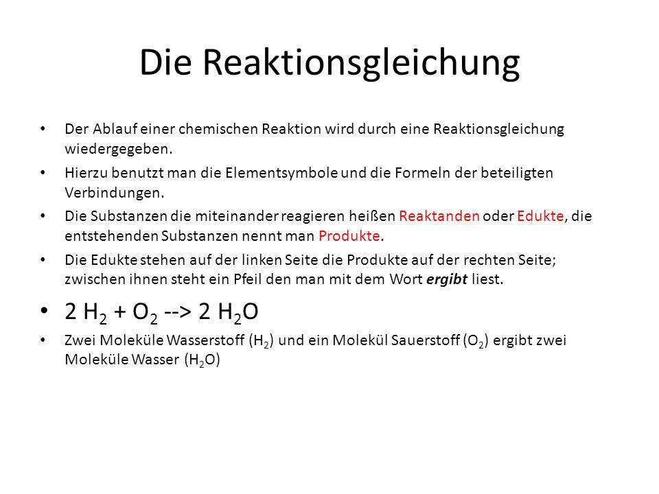 Die Reaktionsgleichung