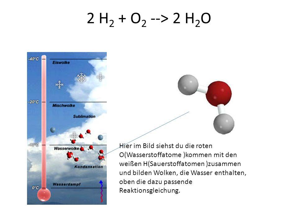 2 H2 + O2 --> 2 H2O