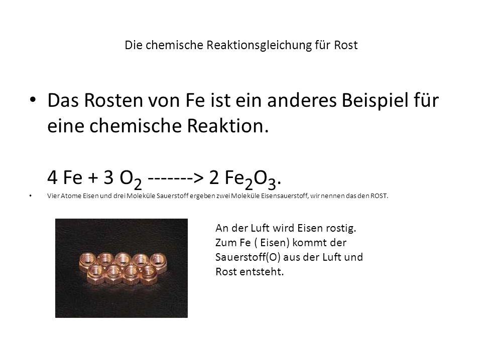 Die chemische Reaktionsgleichung für Rost