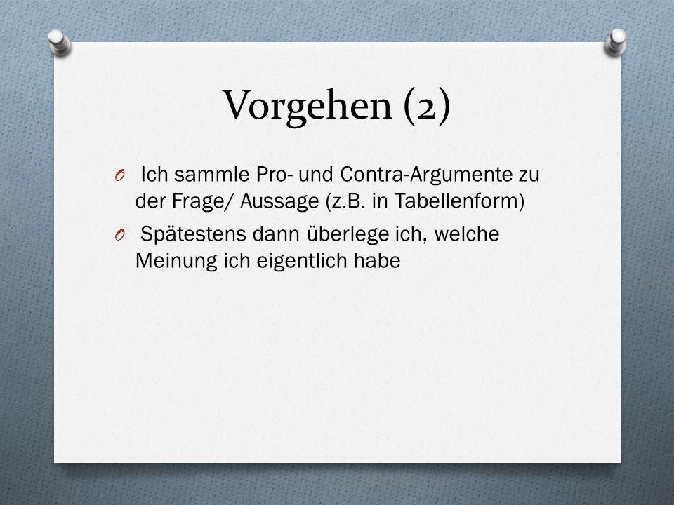 Vorgehen (2)Ich sammle Pro- und Contra-Argumente zu der Frage/ Aussage (z.B. in Tabellenform)