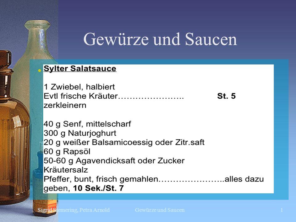 Gewürze und Saucen Sylter Sauce Sigrid Siemering, Petra Arnold