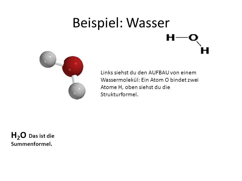 Beispiel: Wasser H2O Das ist die Summenformel.