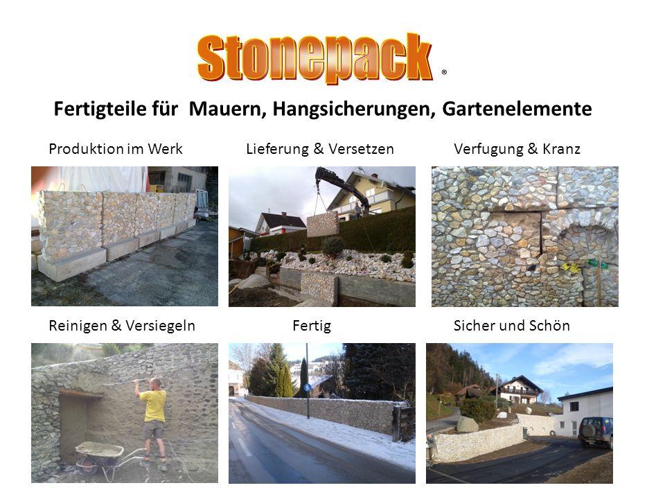 Stonepack ® Fertigteile für Mauern, Hangsicherungen, Gartenelemente